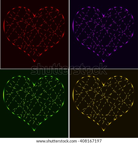 Set of red, purple, green, gold laser neon hearts - stock vector