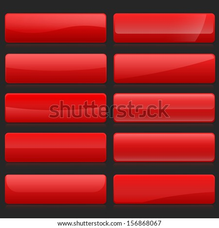 Set of red rectangle horizontal shiny banner buttons with different gloss reflections over, eps10 vector - stock vector