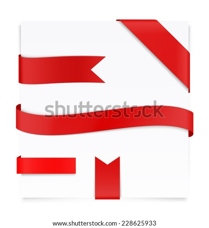 Set of red ribbons with blank paper sheet - stock vector