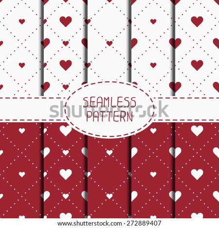 Set of red romantic geometric seamless pattern with hearts. Collection of wrapping paper. Scrapbook paper. Tiling. Vector illustration. Background. Graphic texture. Valentines day. - stock vector