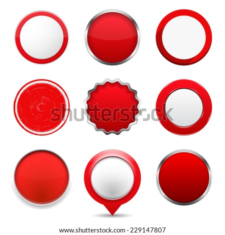 Set of red round buttons on white background, vector eps10 illustration - stock vector