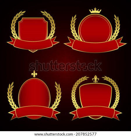 Set of Red Royal Labels with Golden lining and laurel leaves - stock vector