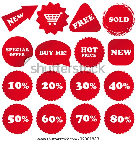 Set of red sale stickers for websites and print - stock vector