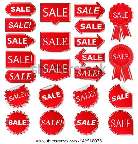 Set of red sale stickers, vector eps10 illustration - stock vector