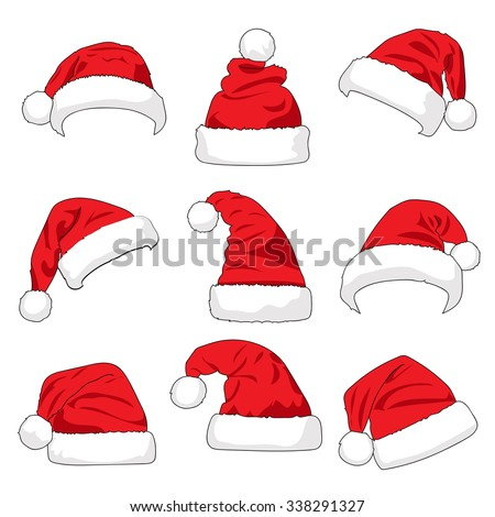 Set of red Santa Claus hats isolated on white background illustration - stock vector