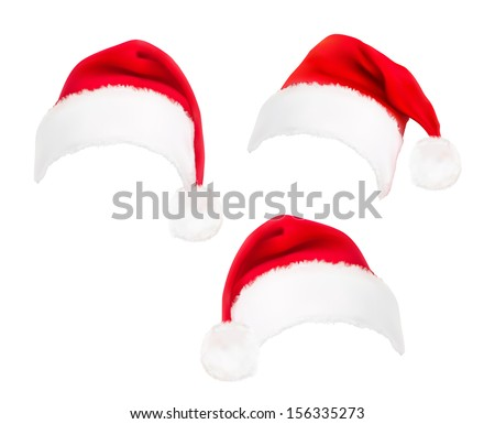 Set of red santa hats. Vector.  - stock vector