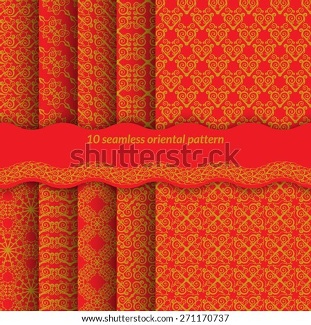 Set of red seamless pattern with spirals. Bright ornament in east style backgrounds for web pages, fabrics, gift wrapping. Without gradients and transparencies. Vector illustration. - stock vector