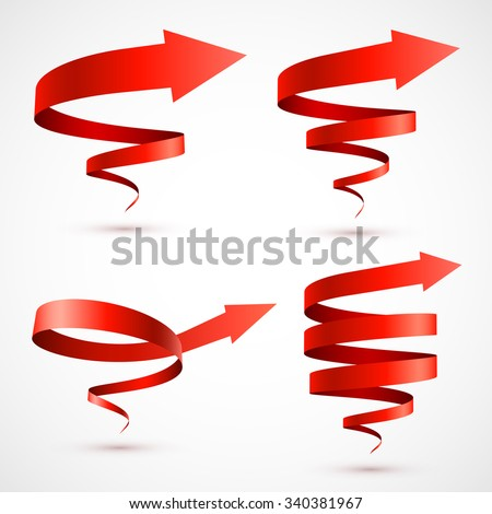 Set of red spiral arrows 3D. - stock vector