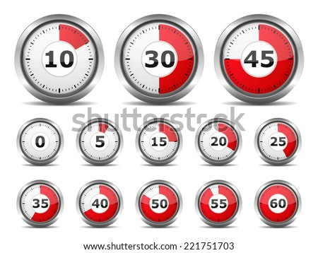 Set of red timers on white background, vector eps10 illustration - stock vector