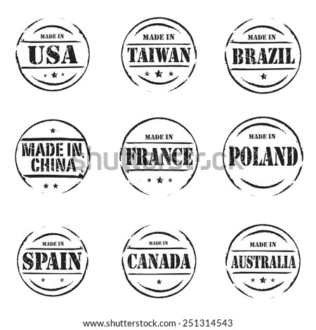 Set of red vector grunge stamps MADE IN - stock vector