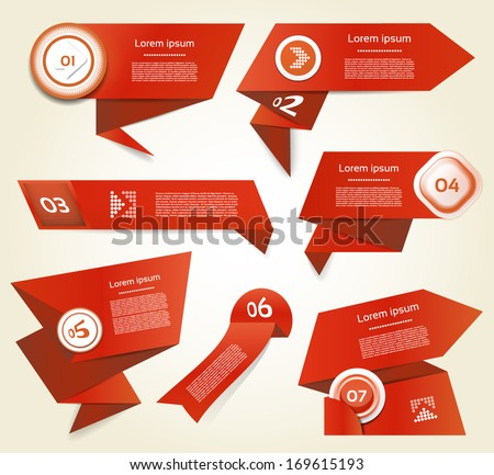 Set of red vector progress, version, step icons. eps 10 - stock vector
