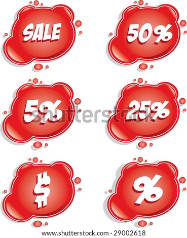 Set of red vector sale stickers - stock vector