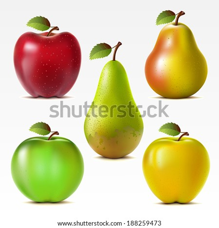 Set of red, yellow and green apples and pears. Mesh.  - stock vector