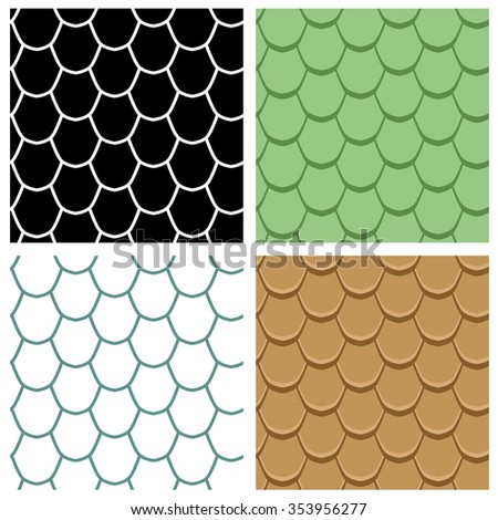 Set of Reptile skin seamless pattern, vector - stock vector