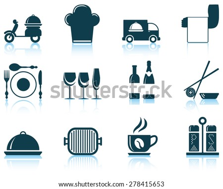 Set of restaurant icon. EPS 10 vector illustration without transparency. - stock vector