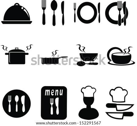 set of restaurant  icons - stock vector