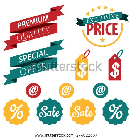 Set of retail stickers and ribbons. Discount sale badge concept. - stock vector