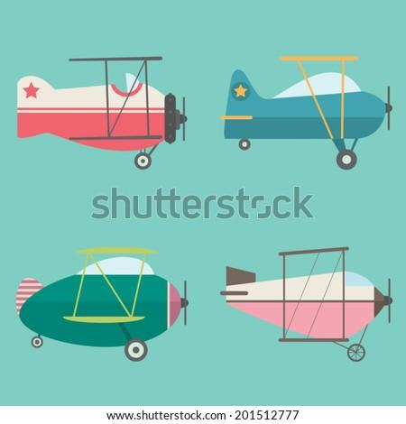 Set of Retro Airplanes - stock vector