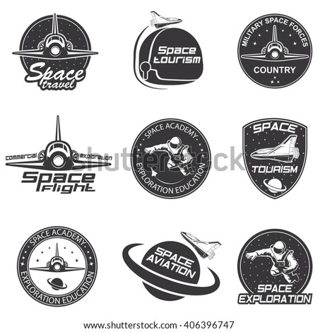 Set of retro and modern space travel badges  - stock vector