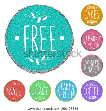 Set of retro badges. Hand-drawn lettering and patterns. Set handmade colored labels with inscriptions in vintage style. Sketch pencil drawing. Vector doodles. - stock vector