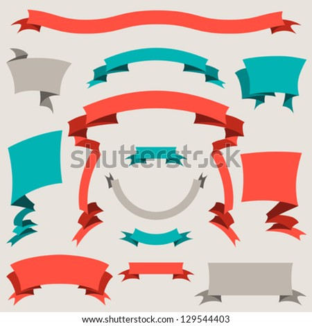 Set of retro badges, labels, ribbons and design elements. - stock vector