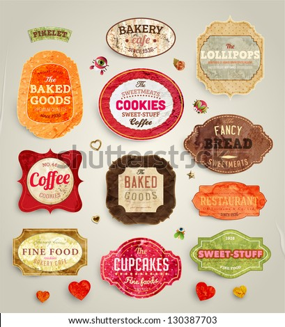 Set of retro bakery and coffee labels, ribbons and cards for vintage design, old paper textures - stock vector