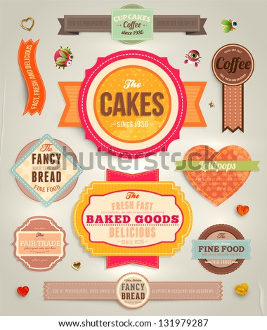 Set of retro bakery labels, ribbons and cards for vintage design, old paper textures and seamless ornaments - stock vector