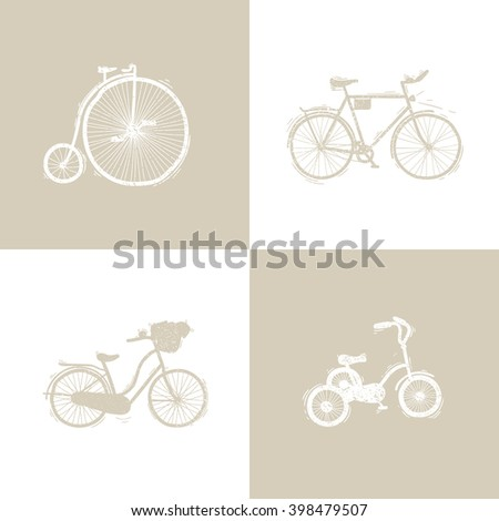 Set of retro bicycle hand-drawing. Vector illustration. - stock vector