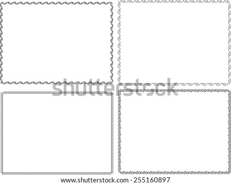 Set of Retro Black and White Frames . Vintage Swirl Border Frame Collection . Vector Frames for your Design . - stock vector