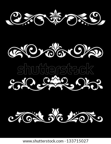 Set of retro borders and dividers in floral style. Jpeg (bitmap) version also available in gallery - stock vector