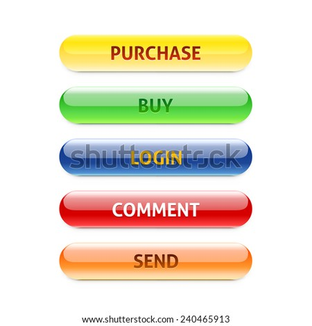 Set of retro buttons. Purchase. Buy. Login. Comment. Send. Can be used for websites, banners, call cards, shops. - stock vector