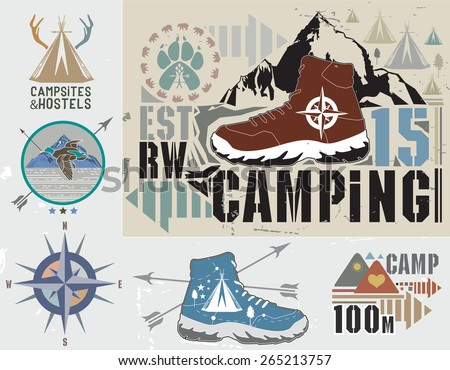 Set of retro camping and outdoor activity logos. Emblems and labels tourism and recreation. - stock vector