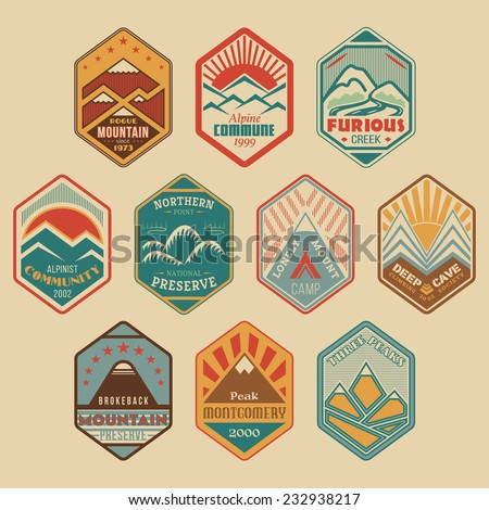 Set of retro-colored alpinist and mountain climbing outdoor activity vector logos. Logotype templates and badges with mountains, creeks, trees, sun, tent. National parks and nature exploration symbols - stock vector