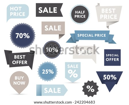 Set of retro colored sale banners in different shapes. - stock vector