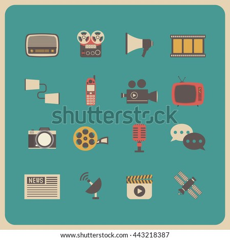 set of retro communication icon, old technology - stock vector