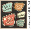 Set of retro design elements. Artistic concept of promotional labels, badges, stickers, ads and bubble speeches. Vintage collection of advertisements and coupons. - stock vector