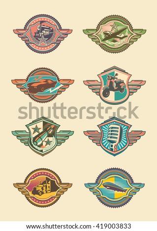 Set of retro emblems. Vector illustration. - stock vector