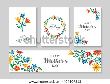 Set of retro flower cards template with spring time illustrations for special mothers day family event. EPS10 vector. - stock vector