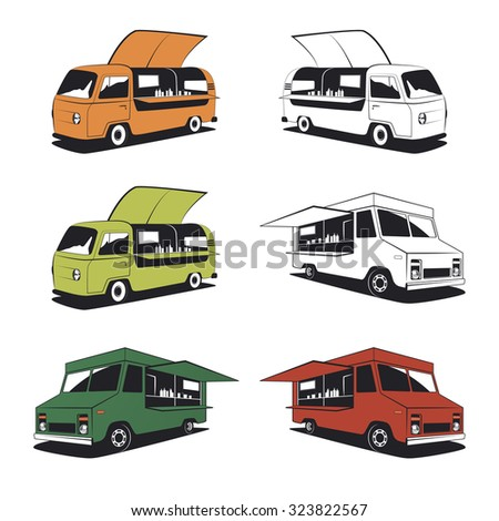 Set of retro food truck illustrations and street food graphics. - stock vector
