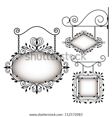 Set of retro graphic signboards - stock vector