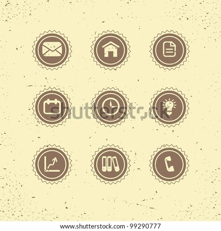 Set of retro icons: business theme. Vector illustration - stock vector