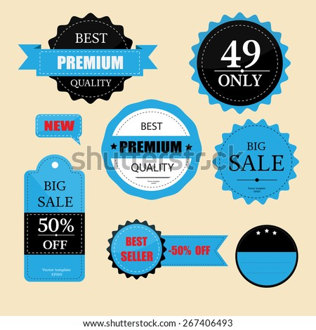 set of retro labels and price tag vector - stock vector
