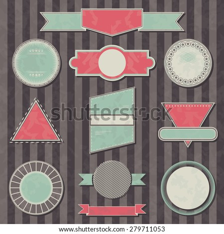 Set of retro labels and stamps. Vector collection. Striped background. Grunge effect     - stock vector