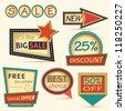 Set of retro labels Sale - stock vector