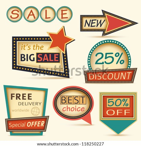 Set of retro labels Sale - stock vector