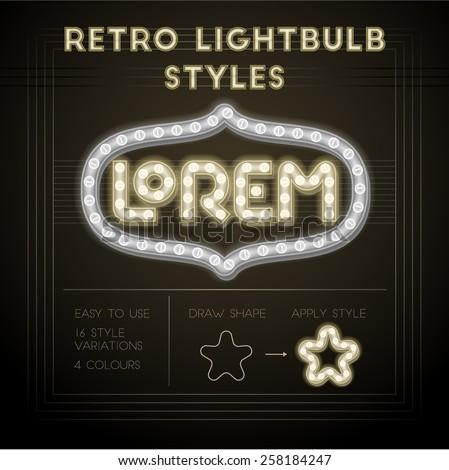 Set of retro lightbulb styles. High quality design element. - stock vector