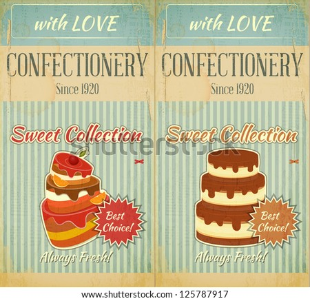Set of Retro Menu with Cake for Confectionery. Vector Illustration. - stock vector