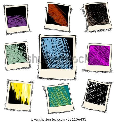 Set of retro photo frame in doodle style. Old template card, polaroid drawing, vector illustration - stock vector