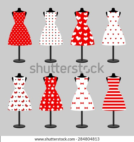 Set of 6 retro pinup cute woman dresses on a black plastic mannequin. Short elegant, red and white color polka dot design lady dress collection. Vector art image illustration, isolated on background - stock vector