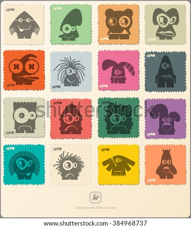 Set of retro postage`s stamp with funny monsters. Cartoon illustration. Vector set. - stock vector